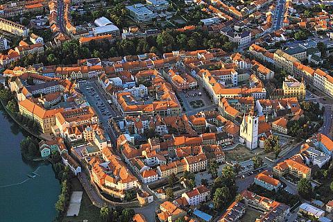 Letecký pohled na město Písek
