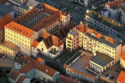 Historické centrum města Písek, letecký pohled