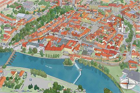 Kreslená mapa města Písek